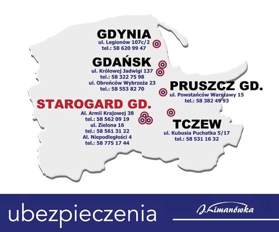 Ubezpieczenia Limanówka: Starogard Gdański, Tczew, Pruszcz Gdański, Gdańsk, Gdynia.